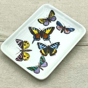 Vintage Hand Painted Italy Porcelain Butterfly Rectangle Trinket Dish